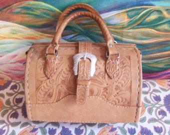 Hand Tooled, Leather Bag, Handbag, Southwestern, Top handle Bag