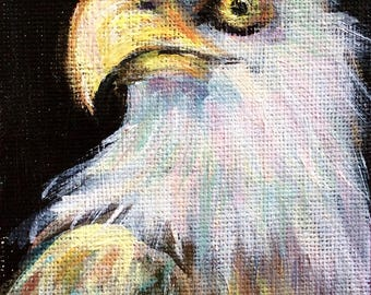 "Eagle Painting bird painting original art 5 x 3"""