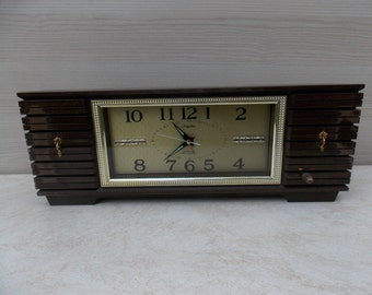 Plastic japan table clock, brown clock, vintage clock, RHYTHM japan clock, working clock, alarm clock, old clock,retro clock