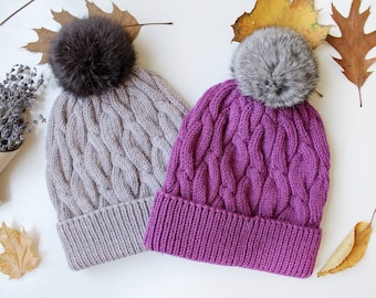 Pom Pom Winter Knitted Hats for Women Valentine's Gift for Her Wool Cable Knitted Hat, Winter Hat for Women, Gift for Wife | Girlfriend