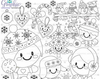 Christmas Stamp, Winter Stamp, Snowball Stamp, COMMERCIAL USE, Digi Stamp, Digital Stamp, Christmas Digistamp, Coloring Page