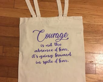 Courage Inspirational Canvas Tote Bag, Birthday Gift, Mother's Day, Book Tote Bag, Reusable Grocery Tote Bag, Knitting Bag