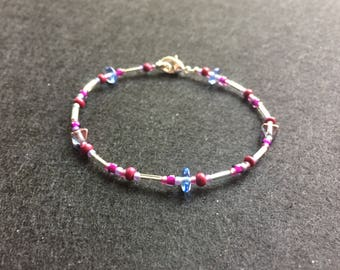 Purple and periwinkle bead bracelet