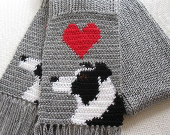 Border Collie Scarf. Grey crochet and knit scarf with border collie dogs and red hearts. Knit dog scarf. Border collie gifts
