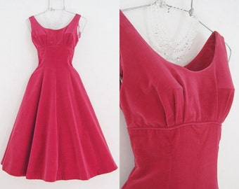 50s Dress Vintage Red Velvet Full Skirt Party Dress XS Valentines