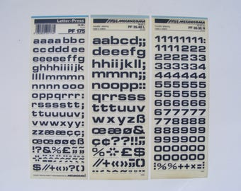 3 dry transfer Mecanorma rub on sheets, bold letraset letter-press for crafting, scrapbooking, card making, journaling