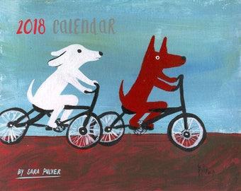 "2018 Wall Calendar by Sara Pulver - Cats, Dogs, Fox, Owl- 11""x17"" Spiral Bound Whimsical Animal Outsider Folk Art Organizer"
