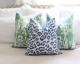 blue leopard print // blue cheetah print // animal print // linen like // chinoiserie decor // blue leopard print