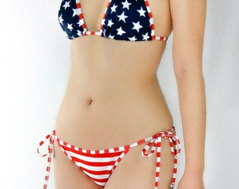 Red and White Striped Bikini Bottom - Patriotic Americana Striped Scrunch Tie Sides Bottom - American Flag - USA Brazilian Cheeky Bikini