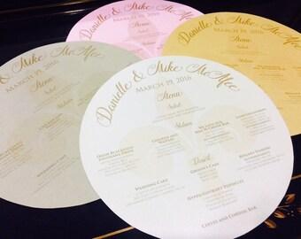 Fleur De Lis Themed Round Menu • Circle Menu • Any Size ROUND MENU, Charger Menu • Reception Menu Cards - for weddings, bridal events