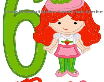 SAMPLE SALE: Strawberry Cutie Birthday Embroidered Shirt, Strawberry Shortcake, Strawberry Friend, Embroidered, Applique