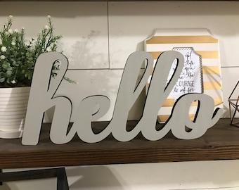 Hello Wood Word Cutout, Scroll Cut Word, Hello Sign, On the Shelf Word