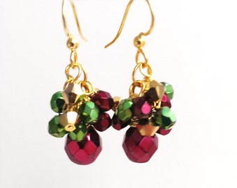Burgundy Red Earrings, Red and Green Cluster Earrings, Festive Christmas Jewelry, Marsala Red, Small Dangle Earrings, Cranberry Red
