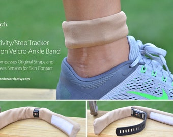 Activity/Step Tracker Nylon Ankle Band – Encompasses Original Straps and Exposes Sensors for Skin Contact (Tan/Nude)