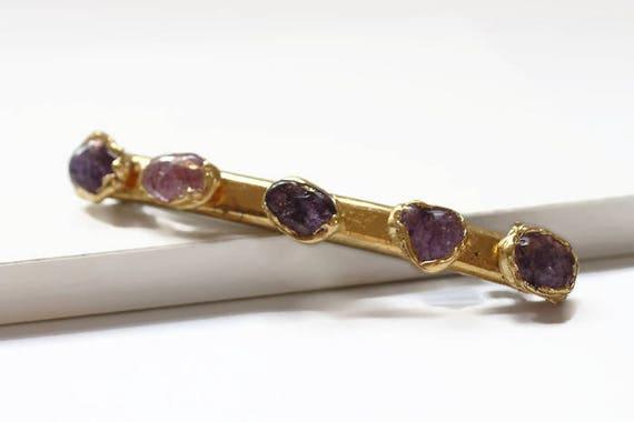 Minimalist Clip, Modern Hair Clip, Sleek Barrette, Stone Barrette, Purple Stone Clip, Gemstone Hair Clip, Bridal Hair Clip, Gifts for Her