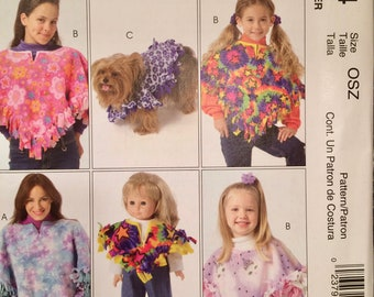 McCalls MP374 pattern, poncho, kid, adult, dog, doll pattern, uncut, brand new, reversible, one hour