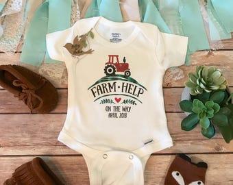 Farm Help on the Way Onesie®, Farm Onesie, Pregnancy Reveal Onesie, Pregnancy Announcement Photo, Country Baby Onesie, Pregnancy Reveal