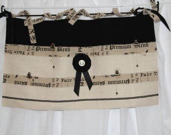 Double tier curtain black and beige