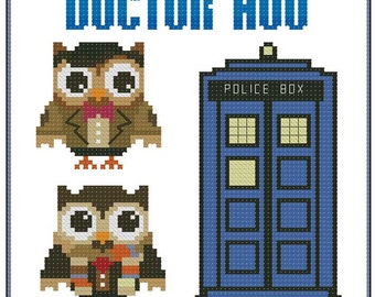 Dr. Hoo (Who) Hooties Cross Stitch Pattern PDF Chart