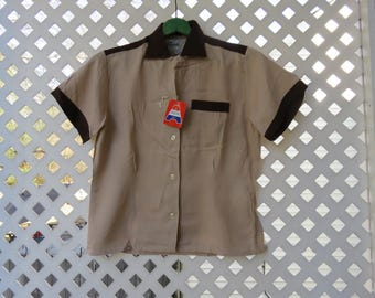 REDUCED - New with Tags Vintage Women's Bowling Shirt - Dunhill Bowler - Brown and Tan - Size Large