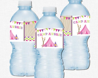 Camping Party Bottle Labels, Water Bottle Wraps, Glamping Party Decorations, Girl Camping Birthday, Pink Tent