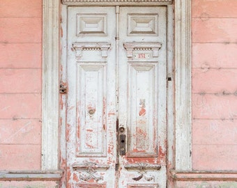 Pastel Door Photograph, Rustic Door Print, Shabby Chic Decor, Blush Pink, French Country Wall Decor, Fixer Upper Decor - Not Too Shabby