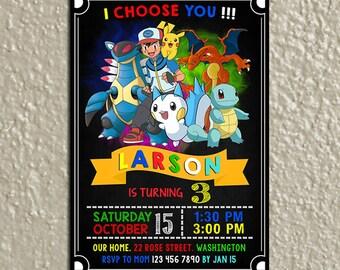 Pokemon Invitation, Pokemon Cards, Pokemon Birthday, Pokemon Birthday Invitation, Pokemon Party, Pokemon Printable, Pokemon Digital