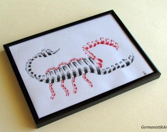 Zodiac Art Red Black Scorpio Ink Drawing, Wall Hanging Art Painting, Zodiac Home decoration, zodiac illustration, fine art, ink illustration