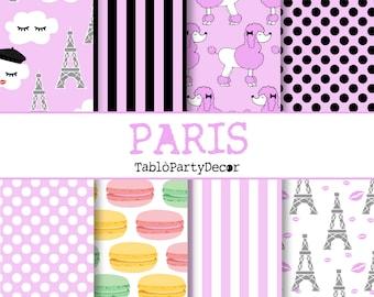 Paris theme, paper, digital paper, print paper, scrapbooking, pattern, fantasy paper, digital paper, printable, chic, Eiffel Tower