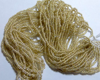Vintage Gold Lined Clear 11/0 Czech Glass Seed Beads