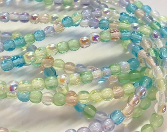 4mm Druk Bead Mix, 4mm Round Glass Bead Mix, Mixed Glass Strand, Czech Druk Bead Mix,  Pastel Greens/Blues