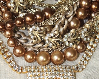 Vintage Assemblage MultiStrand Gold and Bronze Necklace, Vintage Pearl and Rhinestone Statement Necklace, Long Bronze & Gold Bridal Necklace