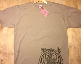 Tiger, Block printed Tee on khaki green.