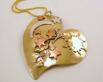 Mixed Metals Broken Mended Heart Pendant with Celestial Theme Necklace