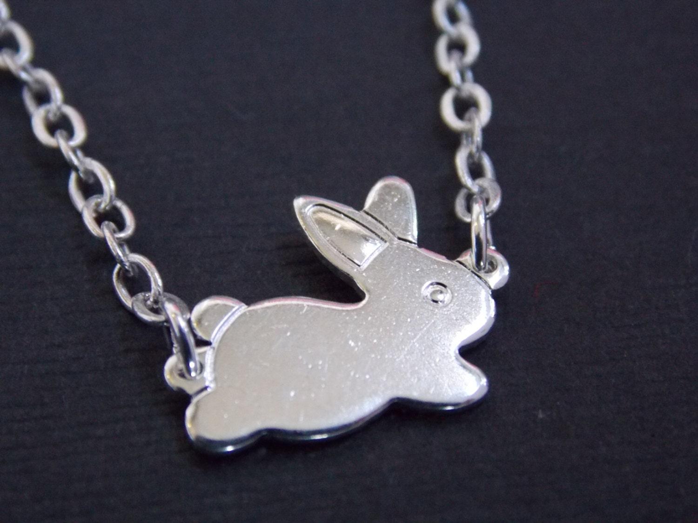 Silver necklace rabbit necklace bunny necklace silver zoom aloadofball Choice Image