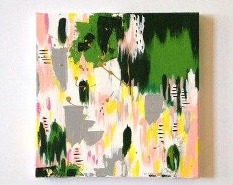 12 x 12 Original Modern Painting on Canvas Abstract Art OOAK Green Acrylic Painting wall art Gift for her or him Kids room Decor Nursery