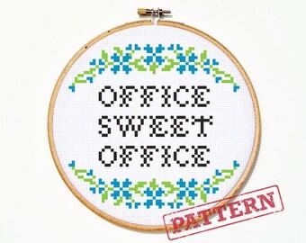 Office Sweet Office Cross Stitch Pattern