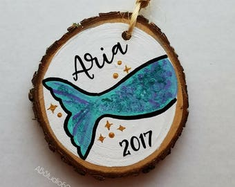 Baby's First Christmas Ornament, Personalized Mermaid Christmas Ornament, 1st Christmas Ornament, First Ornament, New Baby Ornament