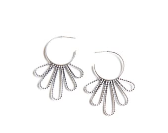 """Distinctive silver earrings with feather shapes soldered together to a hoop to make a modern jewelry piece - """"Beaded Peacock Hoop Earrings"""""""