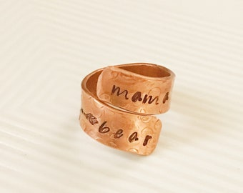 Copper wrap ring-copper jewelry-copper ring-hand stamped-repurposed jewelry-sow Love-mama bear ring-