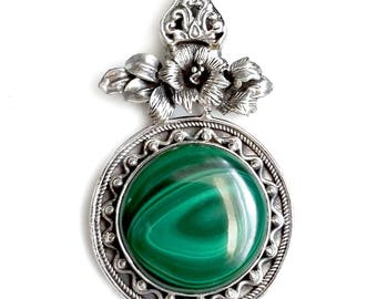 Green Malachite and Sterling Silver Pendant