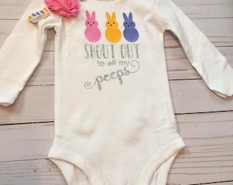 RTS Shout out to my Peeps  Easter Baby Bodysuit Newborn 6 Months 12 Months