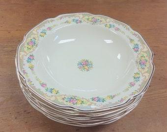 Set of 6 Large Rim Soup Bowls, Mildred (Floral Center) by MOUNT CLEMENS