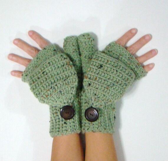 Convertible mitones sin dedos escarcha verde Fleck mitones
