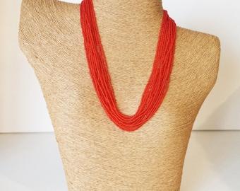 Burnt orange necklace, dark orange necklace, statement necklace, bridesmaid necklace, beaded necklace, seed beads,bridesmaid gift,autumn