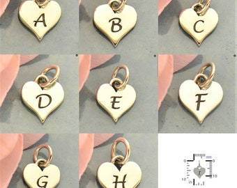 Heart Initial - Small Silver Letter Heart Charm - Personalized Charm, Heart, Initial Charms, Letter, Letters, Mothers Day Gifts, Nana, Love