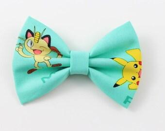 New! Pokemon Hairbow Pikachu Meowth bowtie