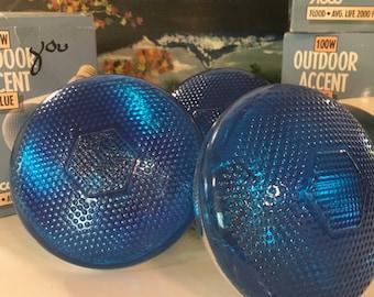 Vintage Abco Blue Glass Floodlights Bulbs Outdoor Accent Lighting Holiday Accent Lighting Outdoor Party Decor