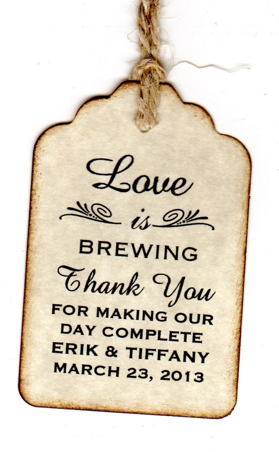 50 Personalized Love Is Brewing Wedding Favor Coffee Tea Tags