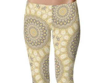 Womens Yoga Pants, Mustard Yellow and Gray Yoga Mandala Tights, Boho Leggings, Stretchy Yoga Leggings, Printed Art Leggings